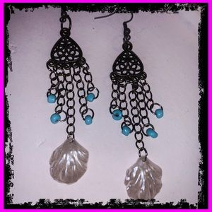 S925 Bronze Turquoise Sea Shell Dangle Earrings
